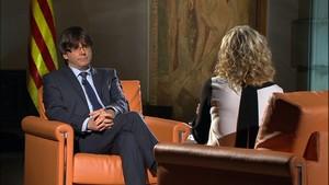 Puigdemont, en la entrevista con Terribas.