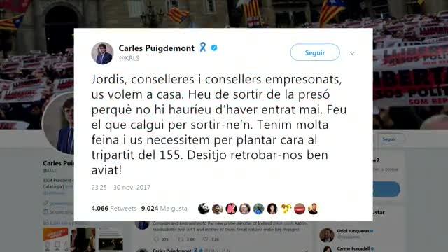 Los ocho exconsellers de la Generalitat en prisión, el hasta ahora presidente de la ANC, Jordi Sànchez, y el presidente de Òmnium Cultural, Jordi Cuixart, están declarando hoy ante el juez del Tribunal Supremo Pablo Llarena.