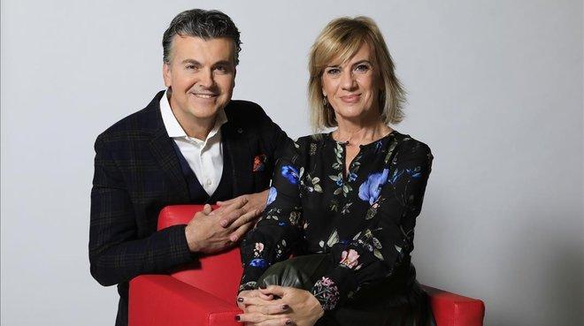 Ramon Gener y Gemma Nierga, presentadore de La Marató de TV-3 del 2018.