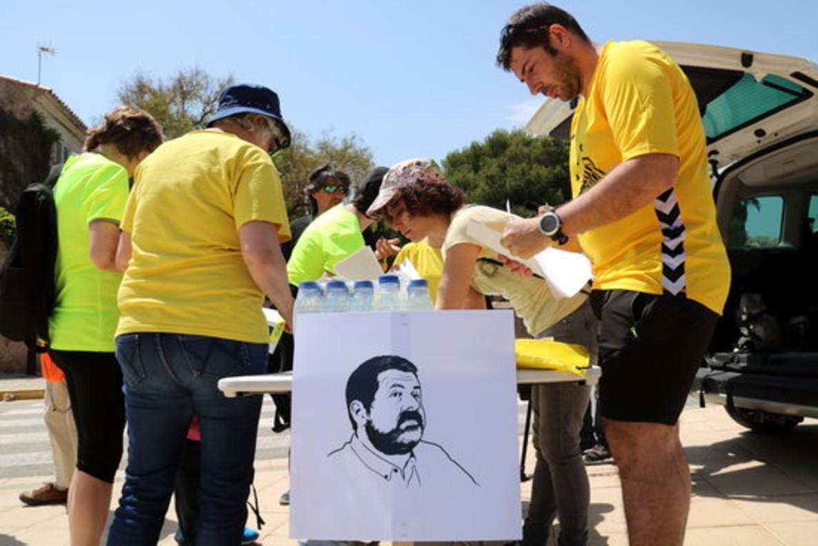 Retrato de Jordi Sànchez, en la marcha por los presos independentistas.