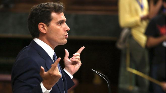 Albert Rivera, en el debate de investidura de Pedro Sánchez.