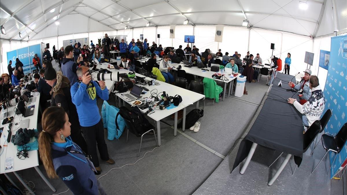La sala de prensa de Grandvalira durante la comparecencia de uno de los ganadores.
