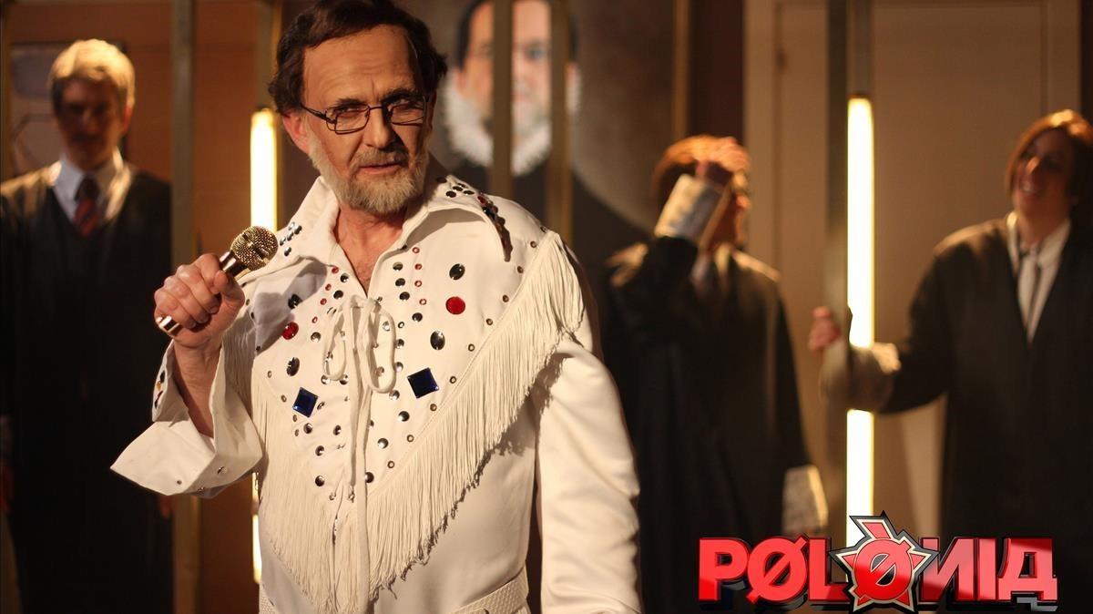 El actor Queco Novell, caracterizado como el Rajoy polaco, en el programa de TV-3 Polònia.