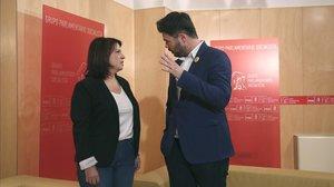 Adriana Lastra (PSOE) y Gabriel Rufián (ERC), el pasado junio en el Congreso de los Diputados.
