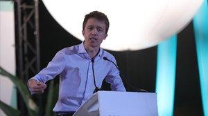 El candidato de Más País, Íñigo Errejón, en el acto de cierre de campaña en Madrid