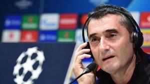 Valverde, en la conferencia de prensa que ofreció en San Siro.