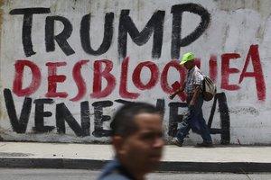 Pintas callejeras en contra del bloqueo económico de los EEUU a Venezuela.