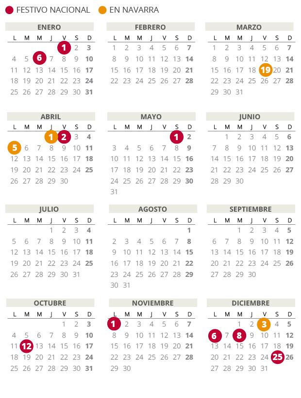 Calendario laboral de Navarra del 2021 (con todos los festivos)