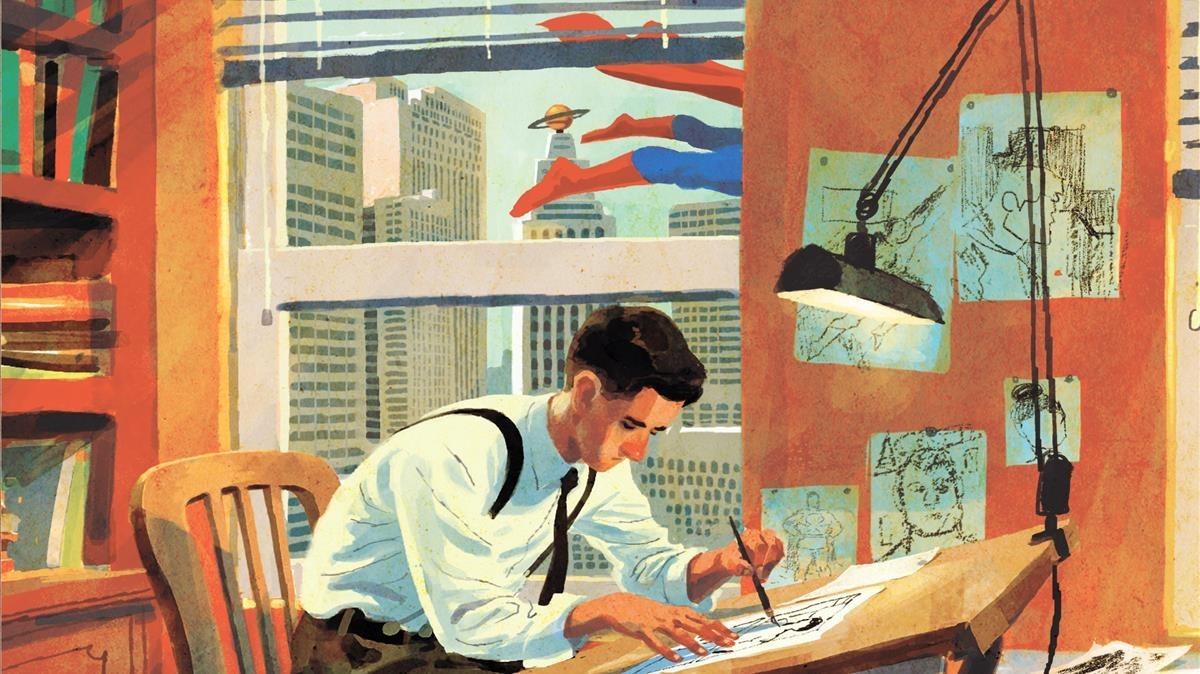 Fragmento de la portada de Joe Shuster. Una historia a la sombra de Superman, con el dibujante y las piernas del superhéroe tras la ventana.