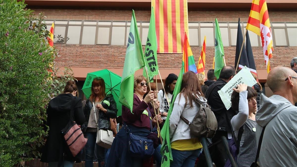 Concentración sindical ante Ensenyament, el jueves.