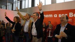 Meritxell Batet, Jaume Collboni, Manuel Cruz y Miquel Iceta, este domingo en un acto electoral del PSC.