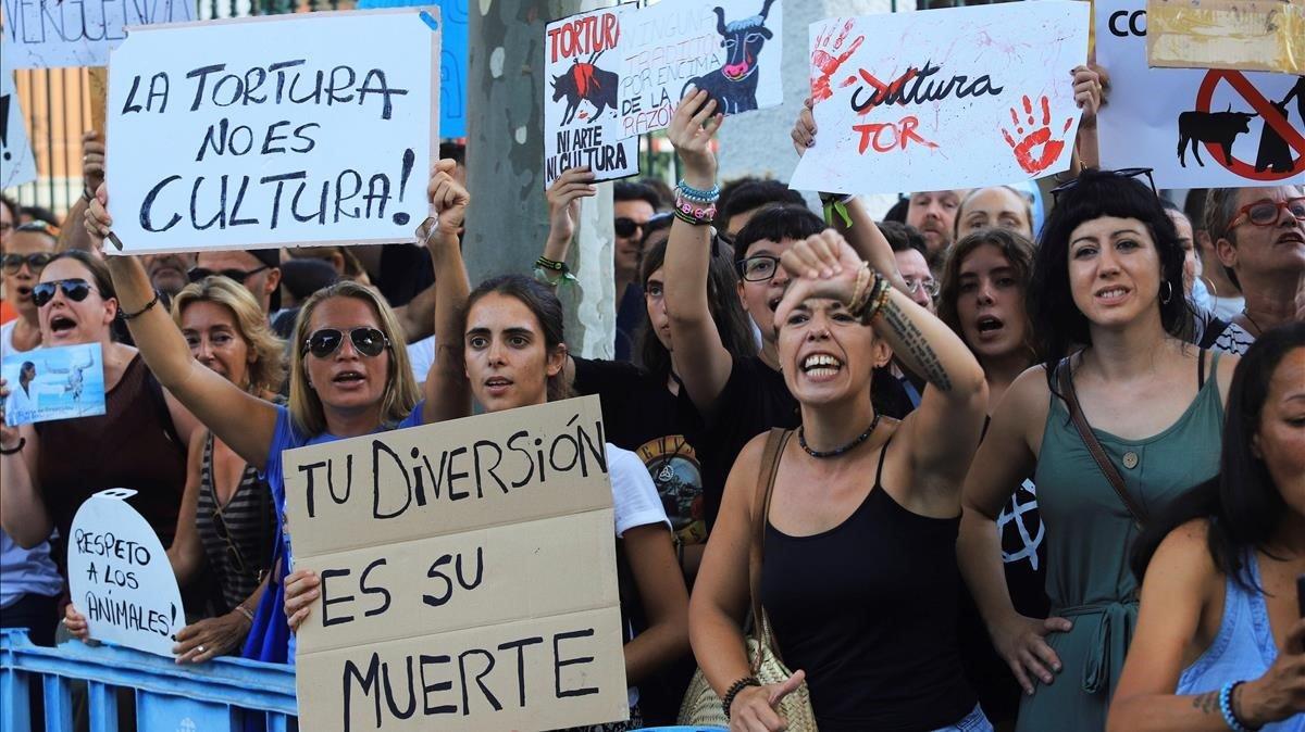 La manifestación antitaurina de Palma.