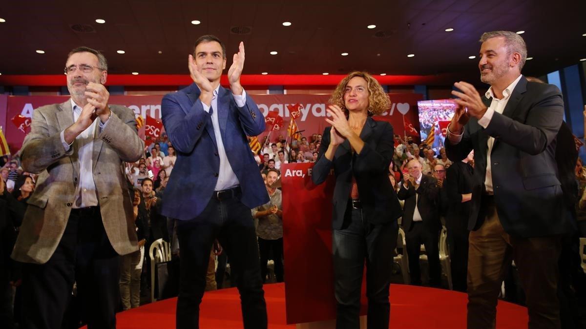 Sánchez obvia el 155 i erigeix el PSC com el partit de la convivència a Catalunya