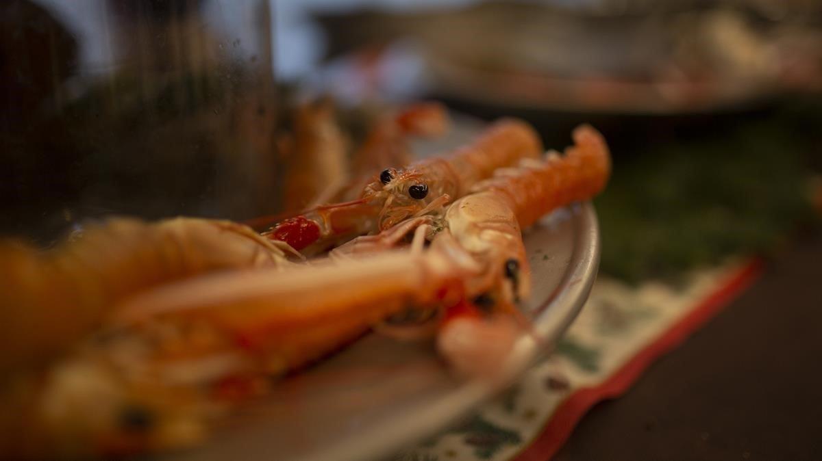 Algunos de los productos del mar presentados en Mercabarna como propuesta para estas Navidades.
