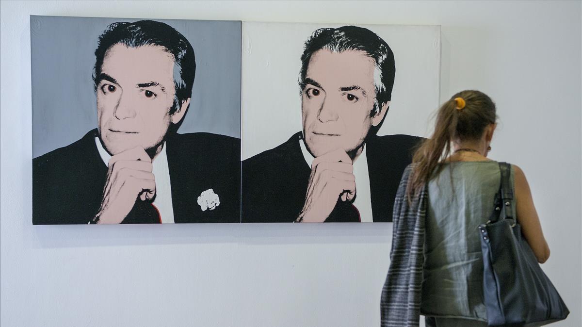 Doble retrato de Vijander, realizado por Andy Warhol en 1983, expuesto en la muestra de la Fundació Suñol.