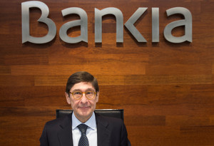 Spains Bankia Chairman Goirigolzarri poses at the start of a news conference to present their annual results in Madrid
