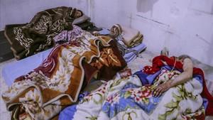 Heridos en un hospital de Duma, en Guta (Siria)