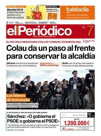 La portada d'EL PERIÓDICO del 7 de juny del 2019