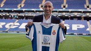 Abelardo Fernández, en su presentación como entrenador del Espanyol, el pasado 30 de diciembre.