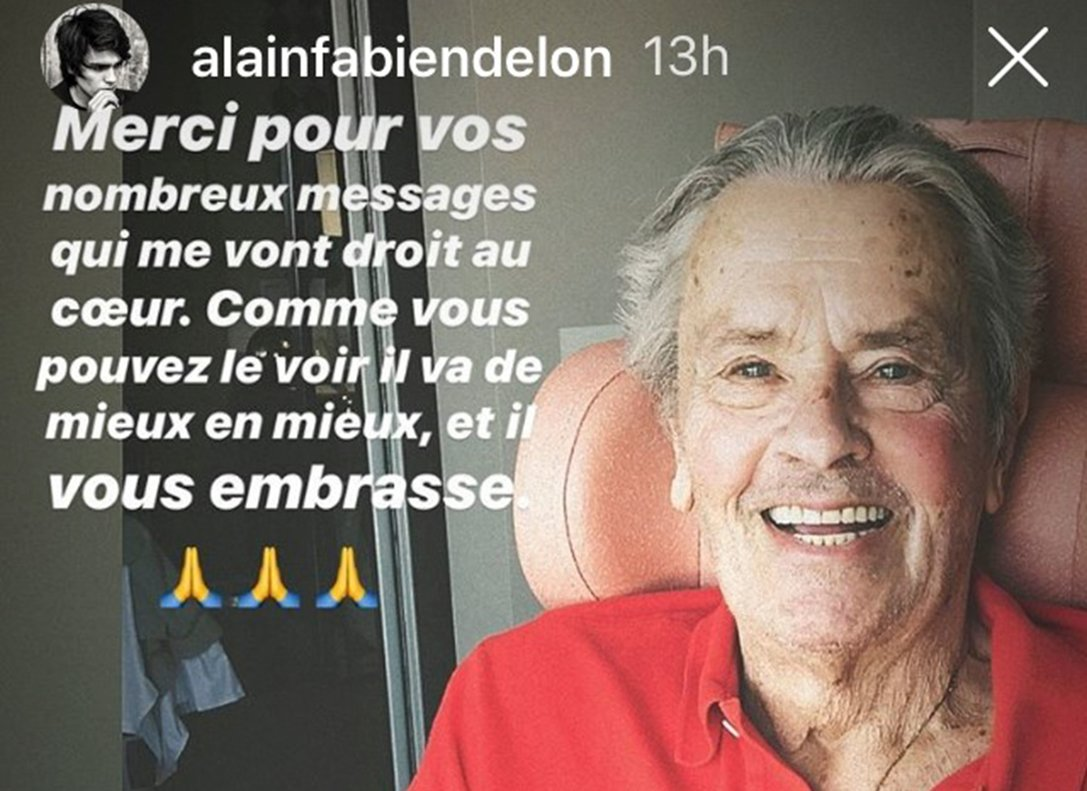 Alain Delon, en la foto de Instagram que ha compartido su hijo Alain Fabien Delon para agradecer las numerosas muestras de cariño recibidas por sus fans.