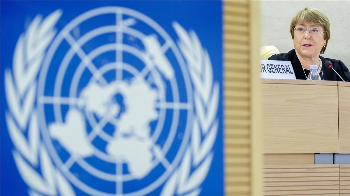 Bachelet durante el discurso que hapronunciado en la sede de la ONU en Ginebra.