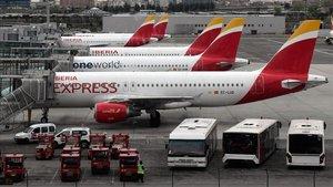 Aviones de Iberia en el aeropuerto Adolfo Suárez, en Barajas, Madrid.