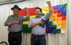 Luis Arce yDiego Choquehuanca,candidatos a la presidencia de Bolivia por el Movimiento Al Socialismo (MAS).