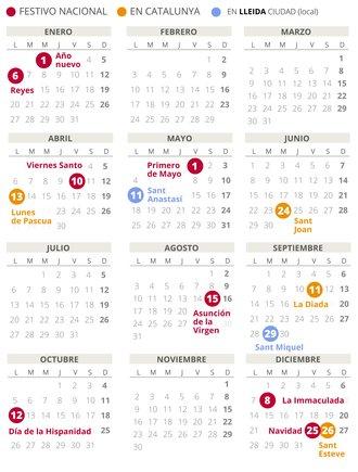 Calendari laboral de Lleida del 2020 (amb tots els dies festius)