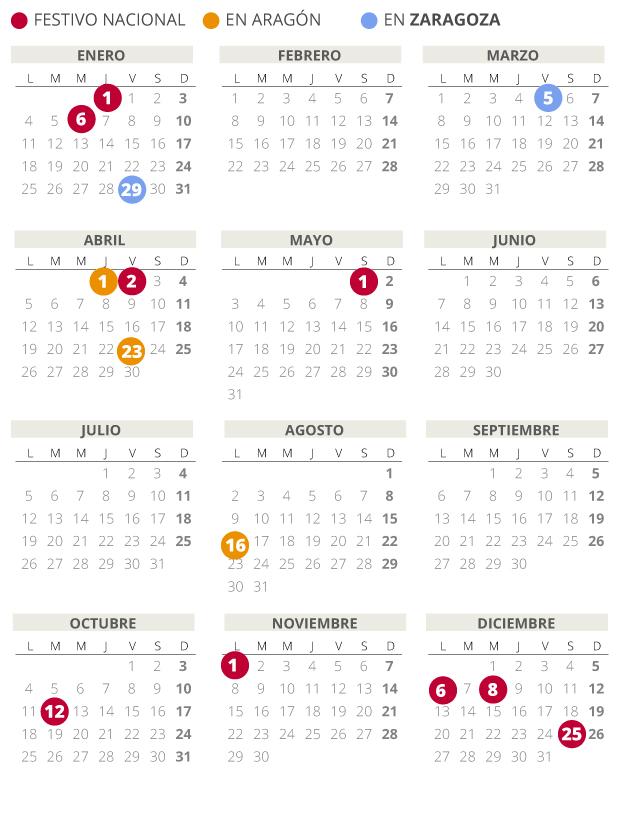 Calendario laboral de Zaragoza del 2021.