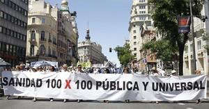 Capçalera de la marea blanca, al seu pas pel carrer dAlcalá de Madrid