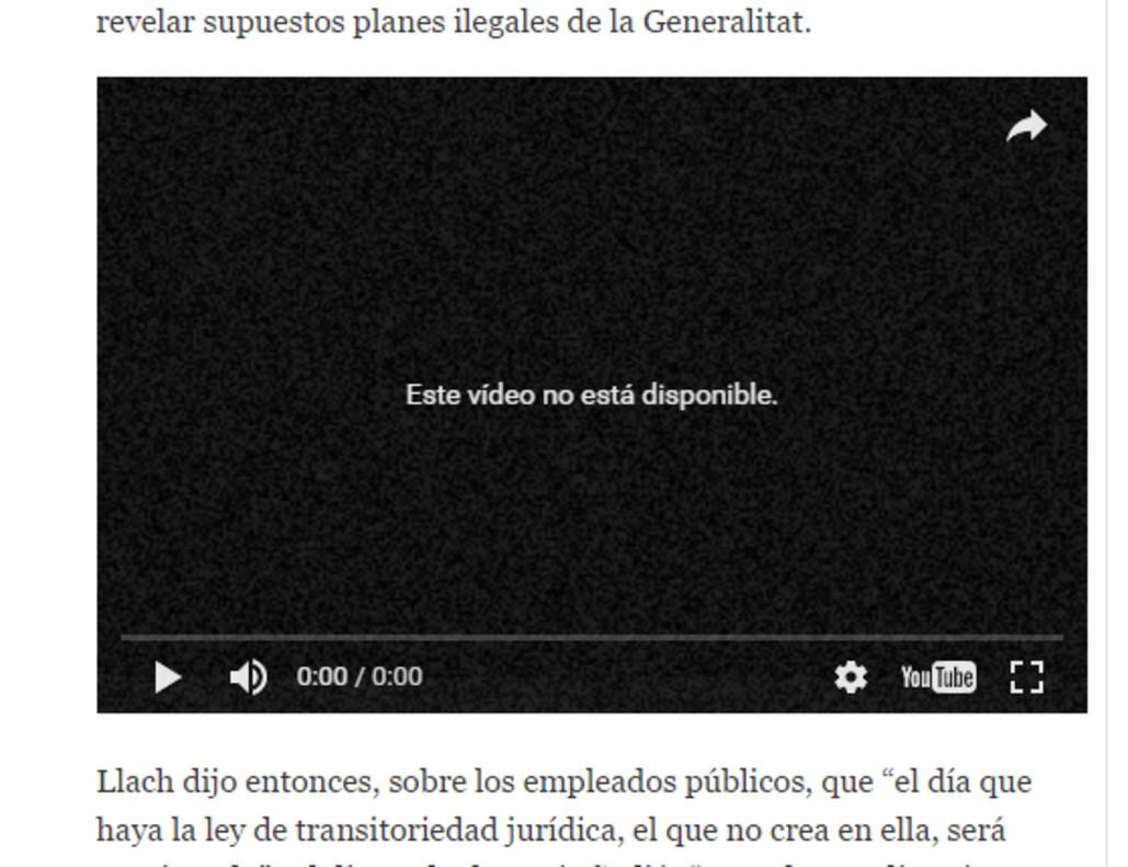 Captura de uno de los vídeos de Llach que ya no pueden verse en Youtube.