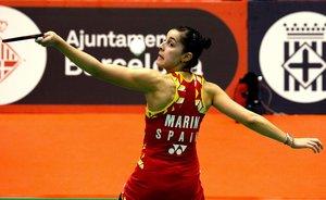 Carolina Marín, en las semifinales de Barcelona.