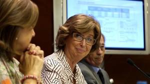 La consellera de Ensenyament, Irene Rigau, presenta el curso escolar 2015-2016.