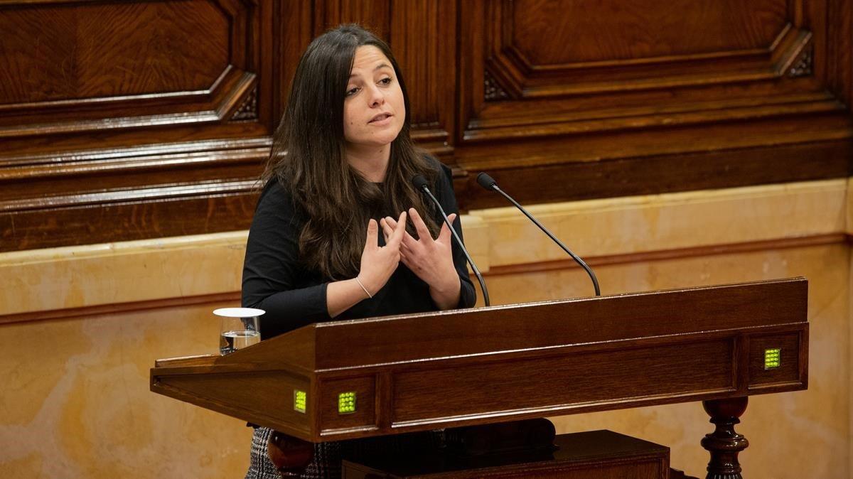 La diputada de la CUP Maria Sirvent en un pleno de abril del 2019
