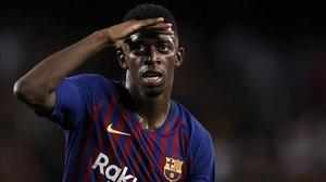Dembélé celebrando un gol esta temporada.