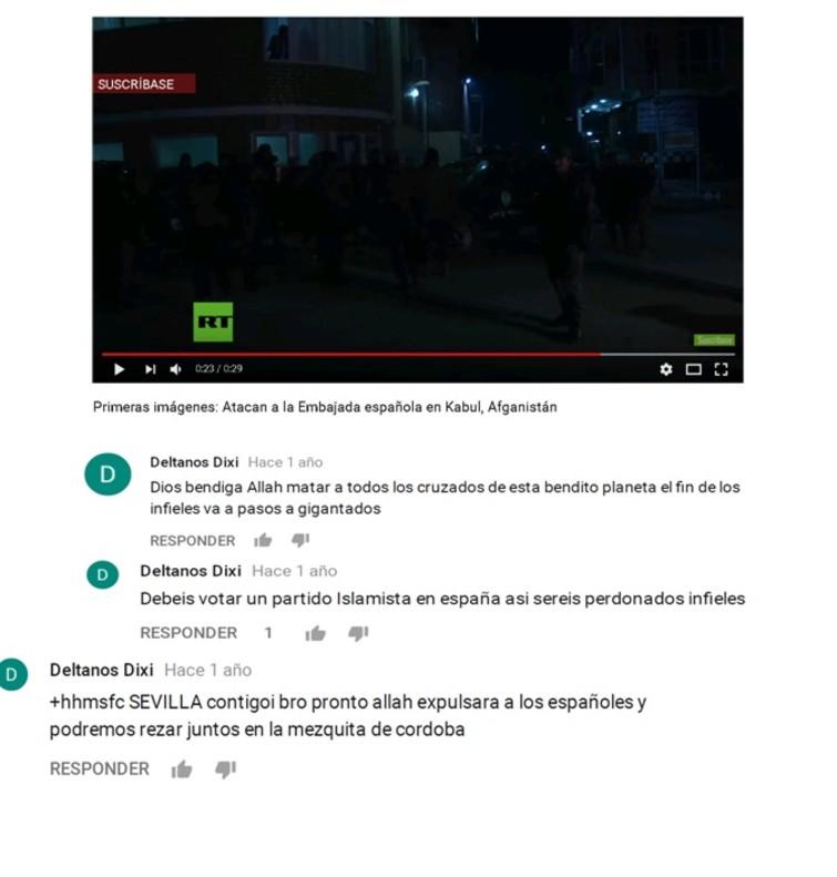 Algunos de los mensajes difundidos en las redes sociales por el detenido por enaltecer al ISIS en Elche (Alicante).