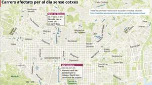 Mapa dels carrers tallats a Barcelona pel Dia sense Cotxes 2017