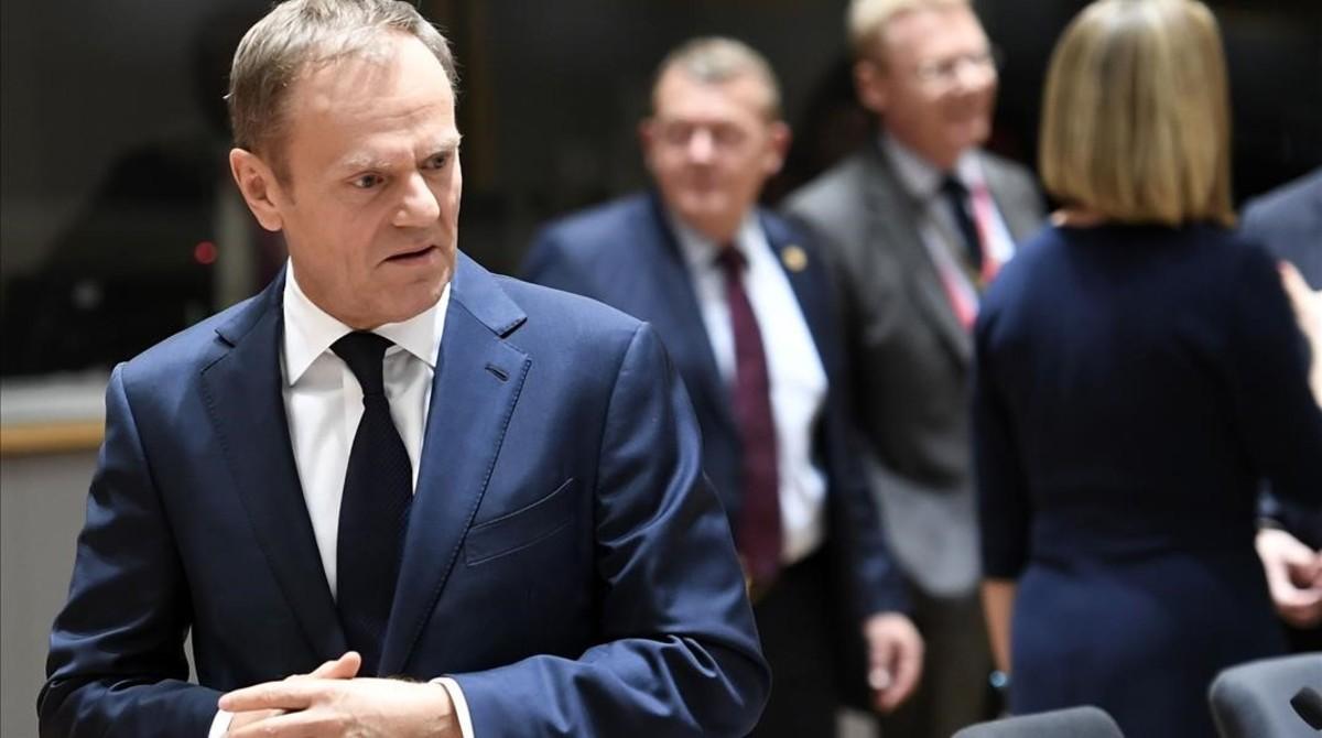 Tusk, a su llegada para una reunión en el marco de la cumbre europea, el 9 de marzo, en Bruselas.