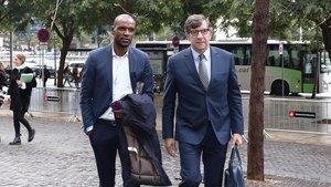 Éric Abidal llega a los juzgados para declarar en el caso del transplante de hígado.