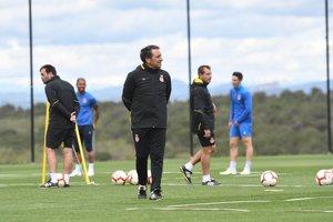 Eusebio, en un entrenamiento del Girona de esta semana.