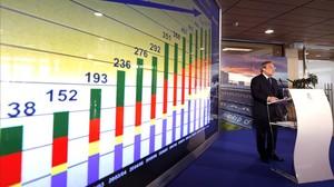 Florentino Pérez, en el Bernabéu, en la presentación del balance económico del Madrid de la pasada temporada.