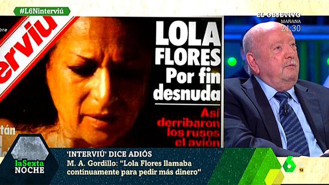 Miguel Ángel Gordillo y el 'Interviú' de Lola Flores, en 'La Sexta noche'.
