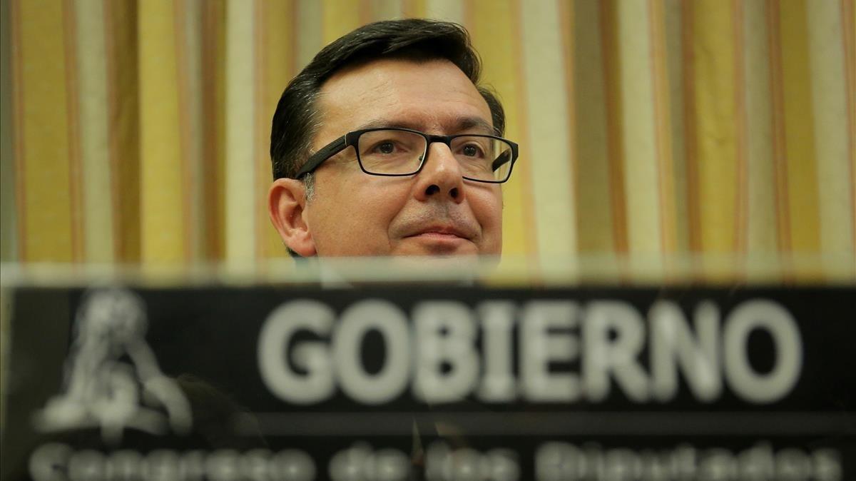 El ministro de Economía, Román Escolano, en una comparecencia en el Congreso de los Diputados.