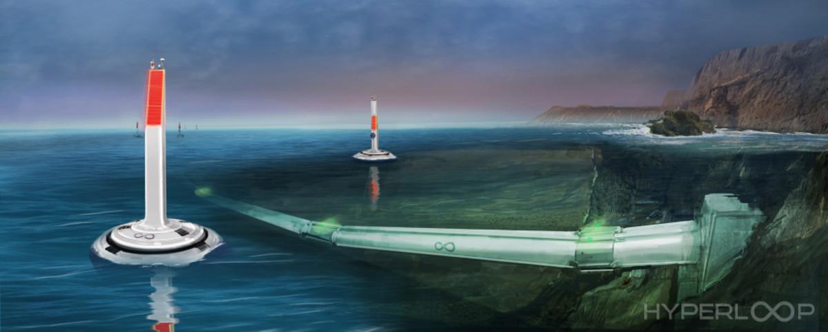 Imagen conceptual del proyecto de Hyperloop bajo el mar.