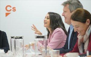 Inés Arrimadas, en la reunión del Comité Permanente de Ciudadanos del pasado día 18.