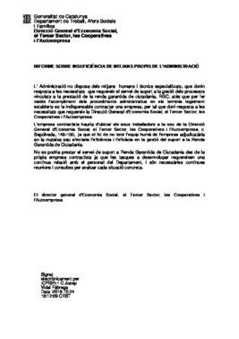 Infiorme de Insuficienca de Medios Propios de la Administración, firmado por el director general, Josep Vidal.