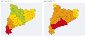 Mapa de riesgo de las lluvias de este domingo.