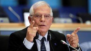 Josep Borrell, durante su intervención en la Eurocámara, este lunes.
