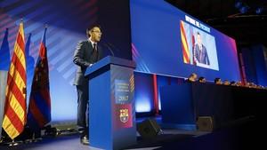 Josep Maria Bartomeu, en su intervención en la última asamblea del club
