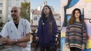 Tres jóvenes cuenta sus testimonios sobre la precariedad.Fèlix Marcos, enfermero(izquierda); Núria Soto, repartidora (centro) y Irene Navarro, dependienta (derecha).